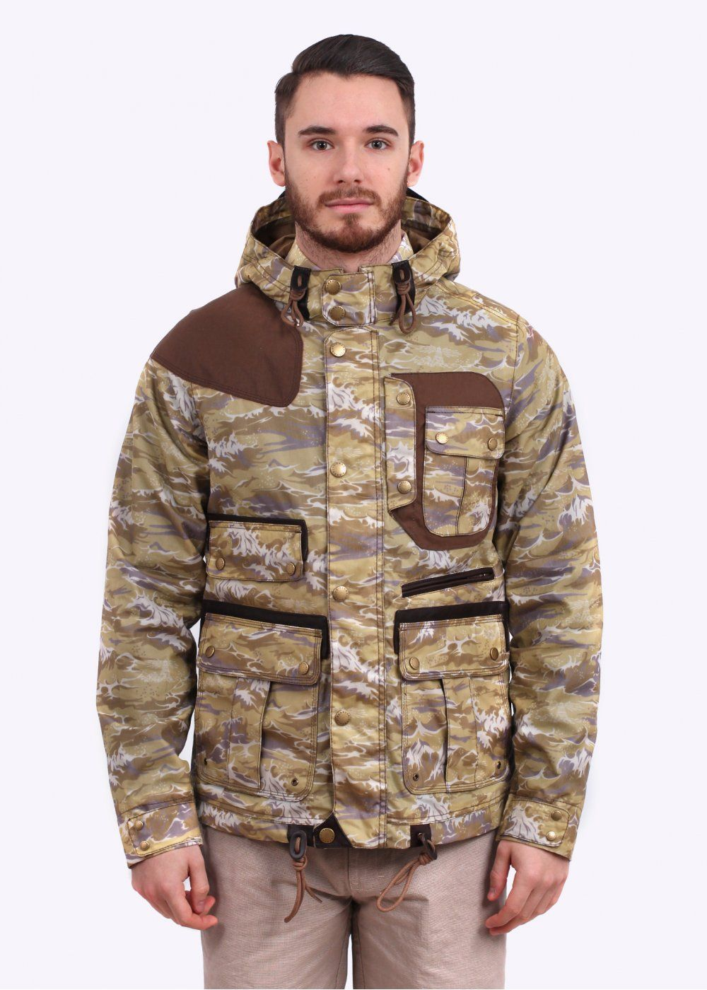 e5ddba82ccaf Barbour x White Mountaineering Wave Mountain Parka - Stone Wave Print - Barbour  X White Mountaineering from Triads UK
