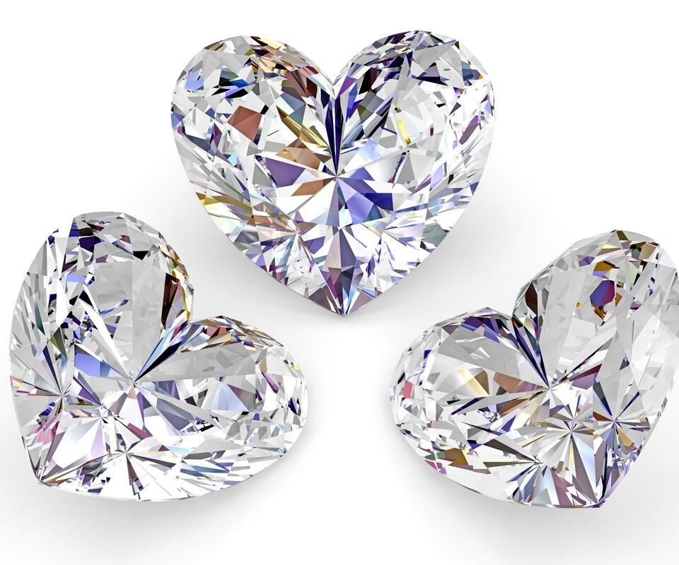 Clear Crystal Glass Hearts (Quite sure it is Swarovski Crystal)