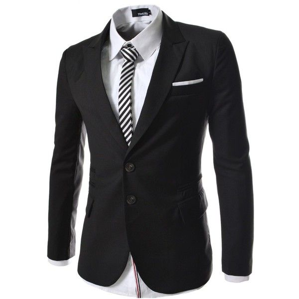 TheLees Mens casual peak lapels 2 button Jacket ($53) ❤ liked on Polyvore featuring men's fashion, men's clothing, men's apparel and mens clothing