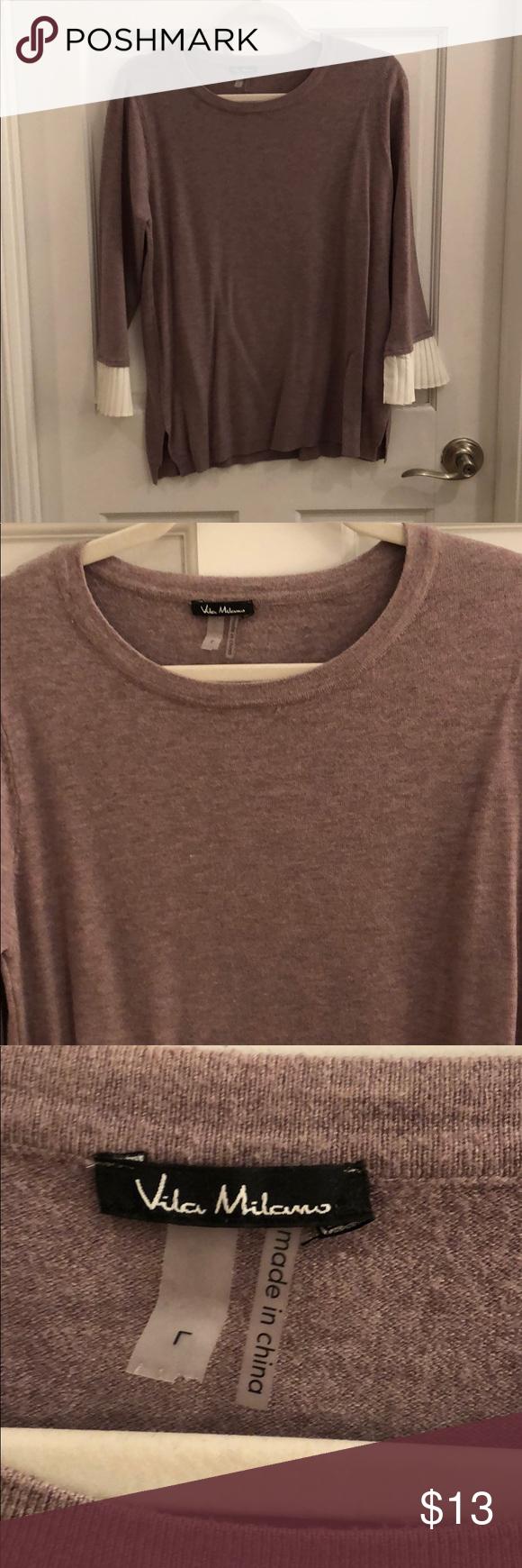 NWOT Vila Milano Pleat Sleeve Sweater L | Sweater sleeves