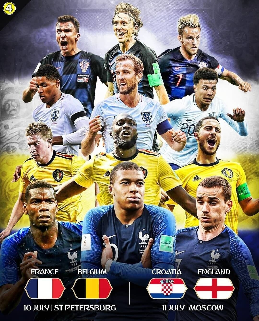 The Semifinal Is Set Who Ll Win Croatia Vs England Belgium Vs France Fifa World Cup 2018 Russia Football Russia