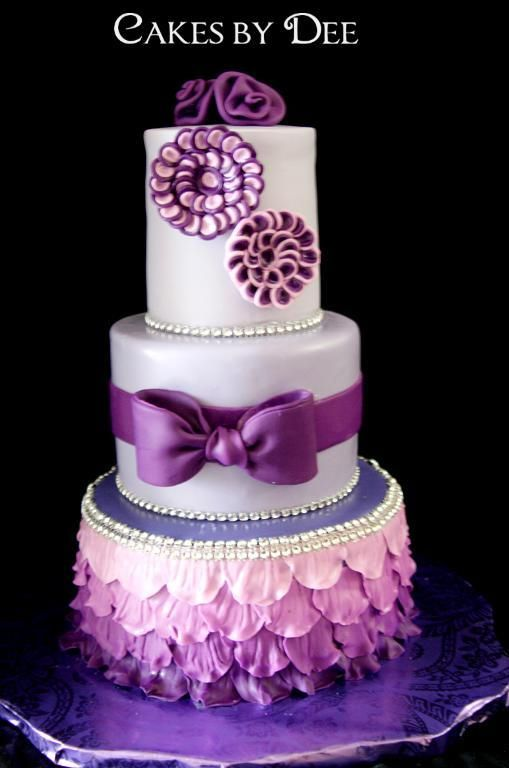 Pretty Purple Birthday Cake Party Decorated Cakes Pinterest