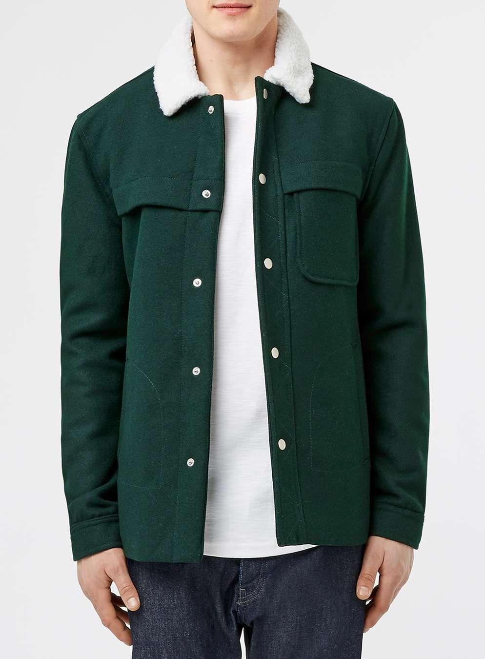 50ffc57bd6f5c Pardessus en laine mélangée vert bouteille - Vestes   Manteaux Homme -  Vêtements - TOPMAN FRANCE