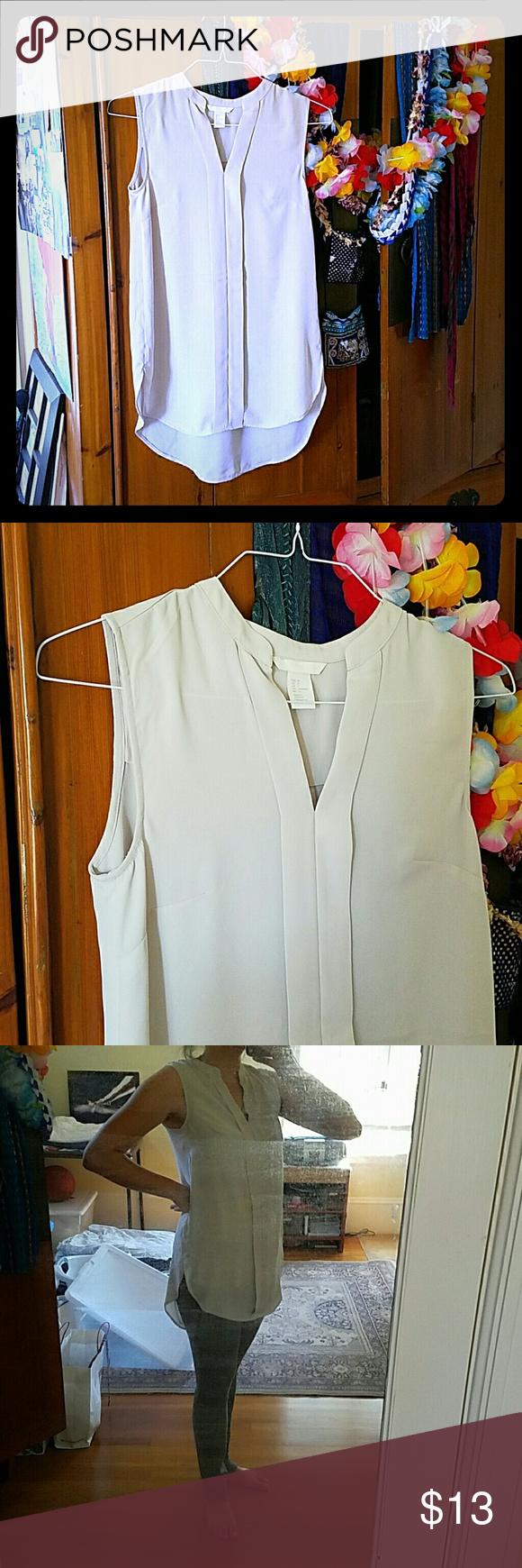 H&M sheer beige office tunic Very light, formal/casual semi-sheer tunic. New, never worn. H&M Tops Tunics