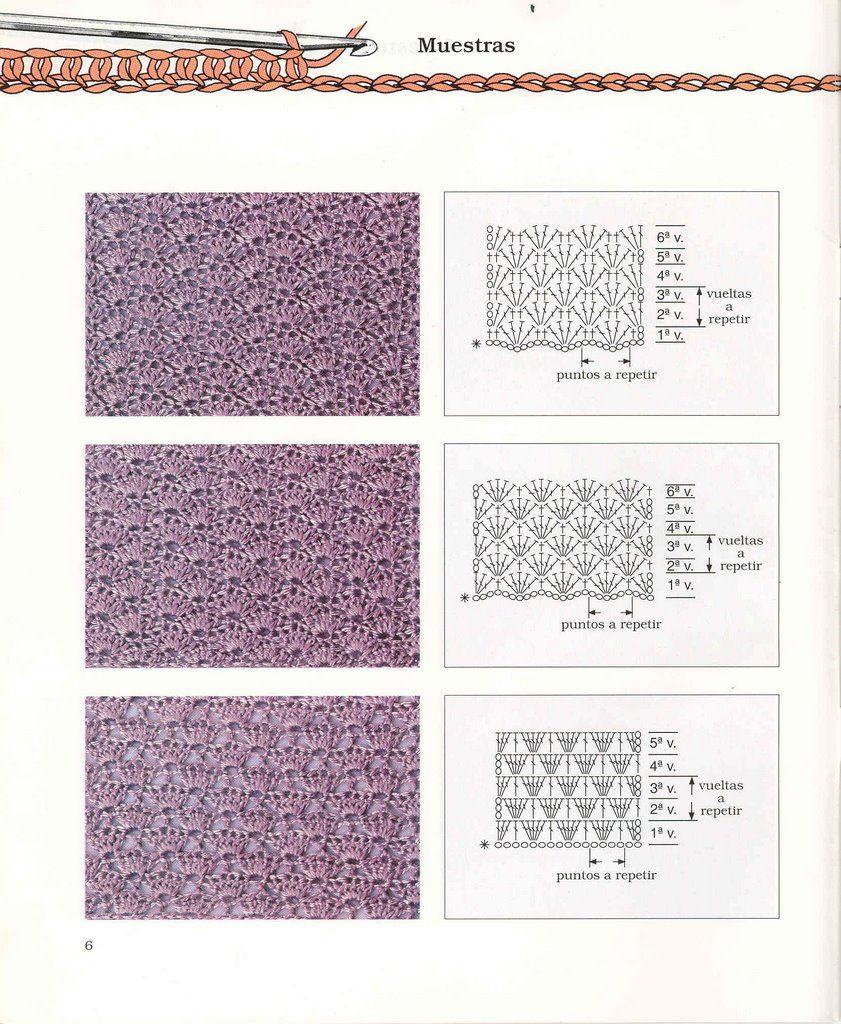 Puntos Diagramas Esquemas Patrones Crochet Ganchillo   Crochet, Knit ...