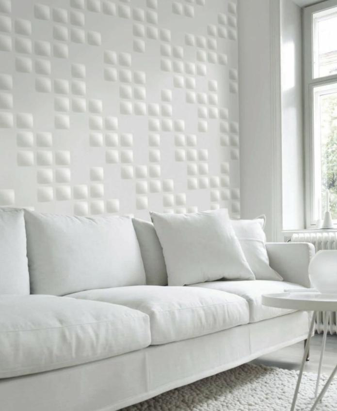 Wohnzimmer Wandgestaltung Farbe Weiss Wandpaneele Mosaik Weisses Sofa In 2020 Wandpaneele Sofa Weiss Wandgestaltung