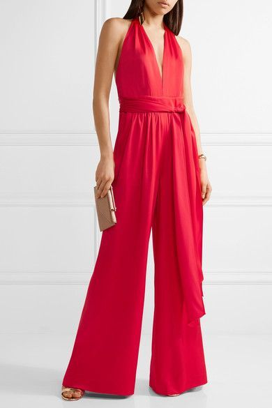 421a221fc891 RACHEL ZOE Ainsley satin-crepe halterneck jumpsuit Red satin-crepe  Concealed hook and zip fastening at back 80% acetate