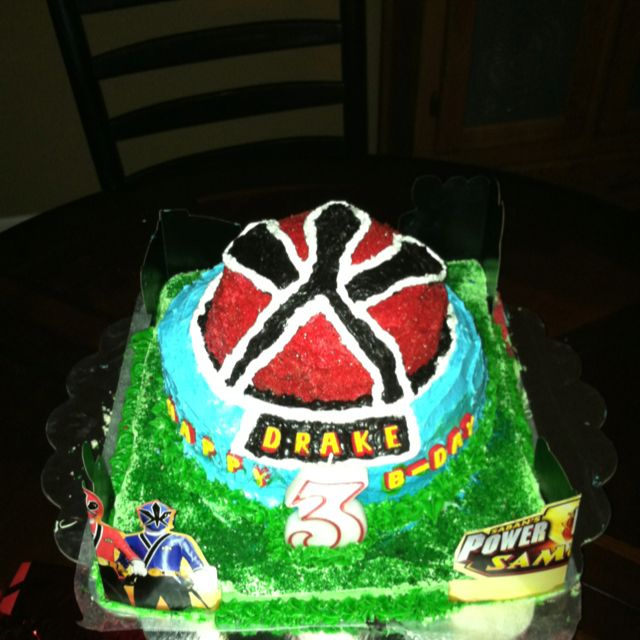 Power Ranger Birthday Cake: had to use sugar sprinkles to get the red, a whole tube of red coloring gel was not enough!