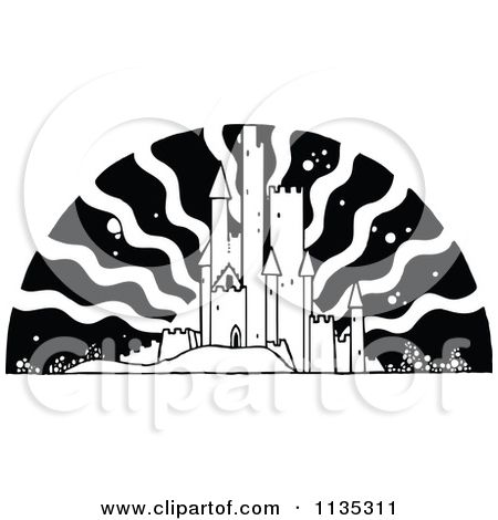 Clipart Of A Retro Vintage Black And White Fairy Tale Castle And Free Vector Illustration Castle Vector Fairytale Castle