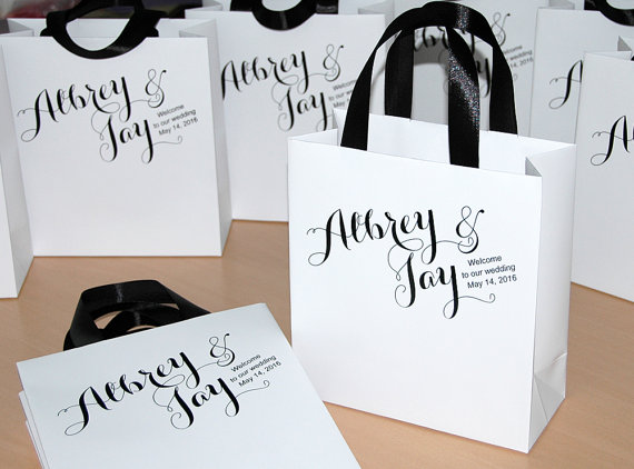 30 Welcome Bags With Satin Ribbon And Names Wedding Gift To Our Custom Personalized Bag