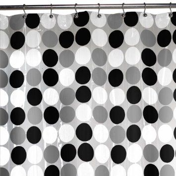 Black White Gray Polka Dot Shower Curtain Compliment The Yellow Stripe Wallpaper