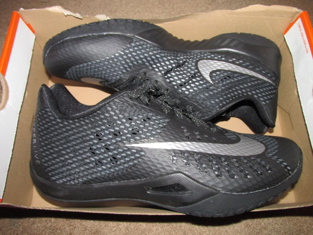 Nike Hyperlive Low Mens Basketball Shoes 9.5 Black Metallic Silver 819663  001