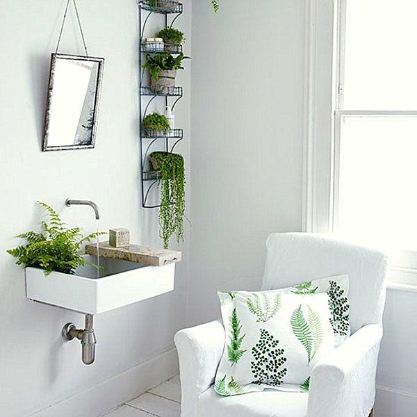 Wohnideen - grüne Zimmerpflanzen im Badezimmer Grüner Daumen