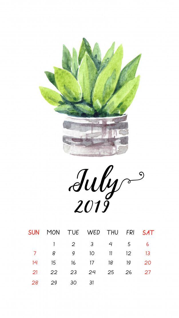 Watercolor Cactus Calendar For July 2019 Watercolor Cactus