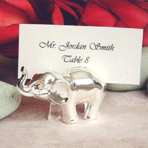 Elephant Bottle Stopper Silverplated Place Card Holders