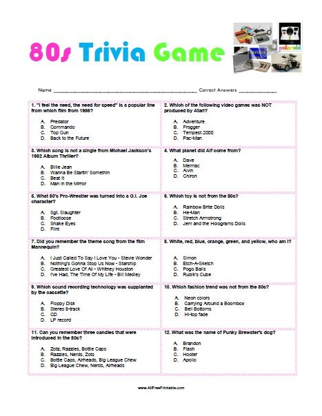 Free Printable 80s Trivia Game … | 80th Birthday | 80s p…