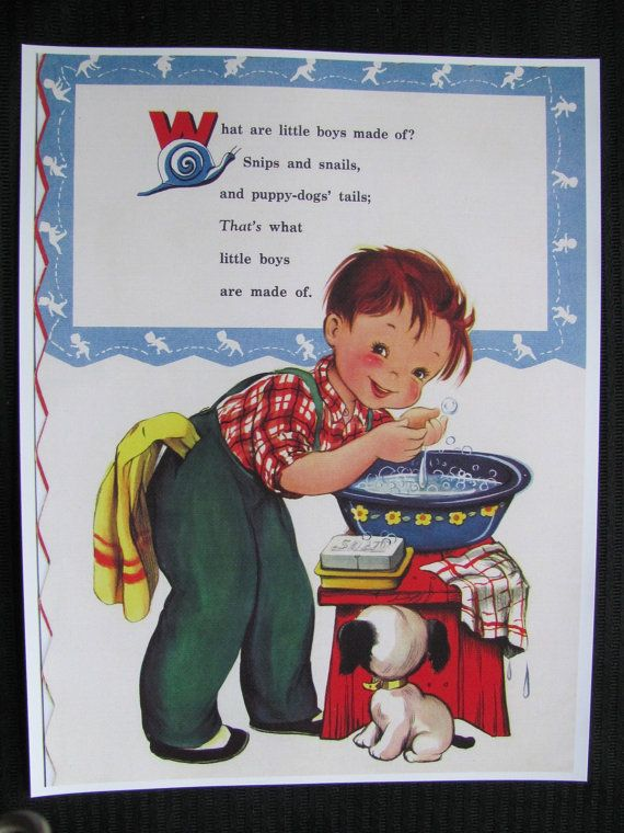 Childrens Illustrated Nursery Rhyme Book Page Poster Print 8 X