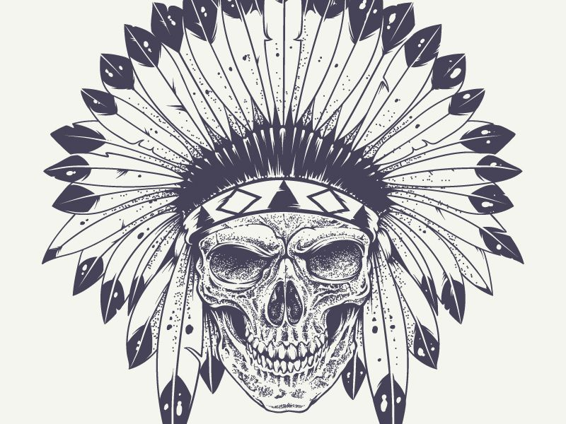 43948829bfd50 Skull with Indian Feather Hat | Illustrations | Indian skull tattoos ...