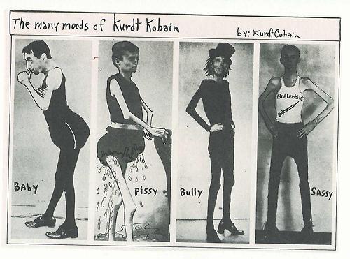 The many moods of Kurt Kobain. (taken from his journal)
