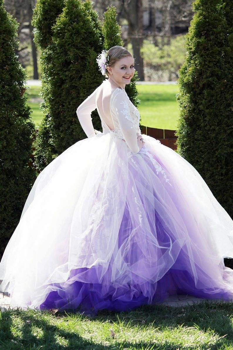 Wedding Dress Long Sleeve Lace Tutu Dress Ivory And Purple Etsy Long Sleeve Wedding Dress Lace Purple Wedding Dress Gothic Wedding Dress [ 1191 x 794 Pixel ]