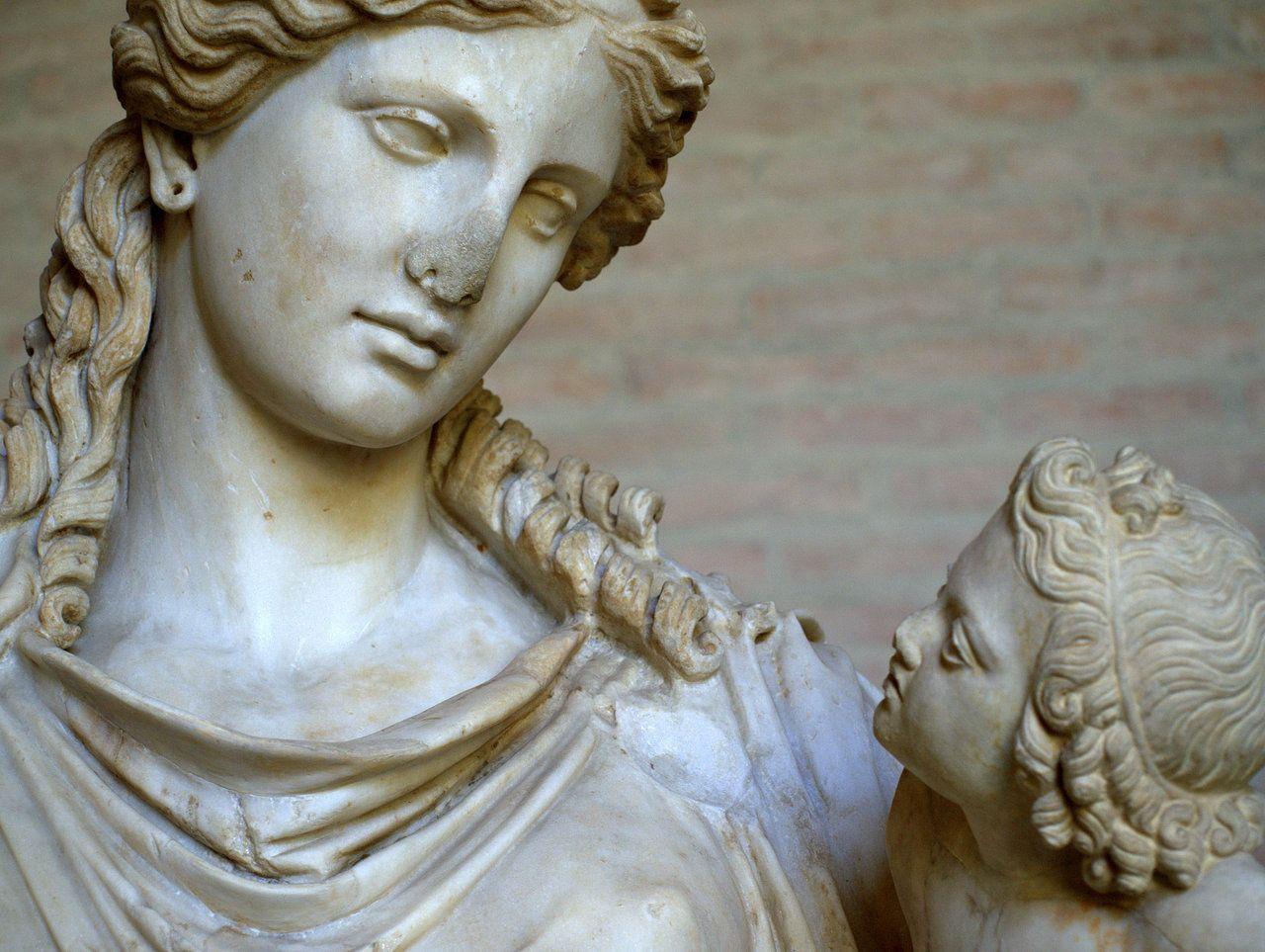 Detail of Statue of Eirene, Greek goddess of Peace. Roman ...