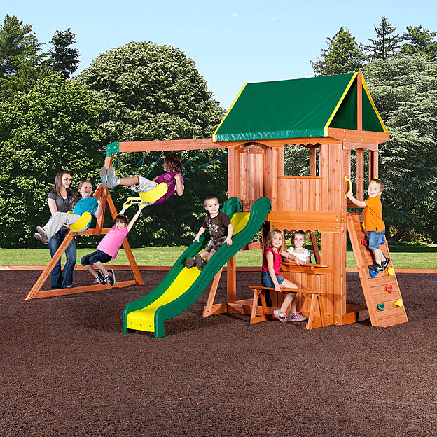 Backyard Discovery Somerset Swing Set 400 In 2020 Wooden Swing Set Backyard Playset Swing Set