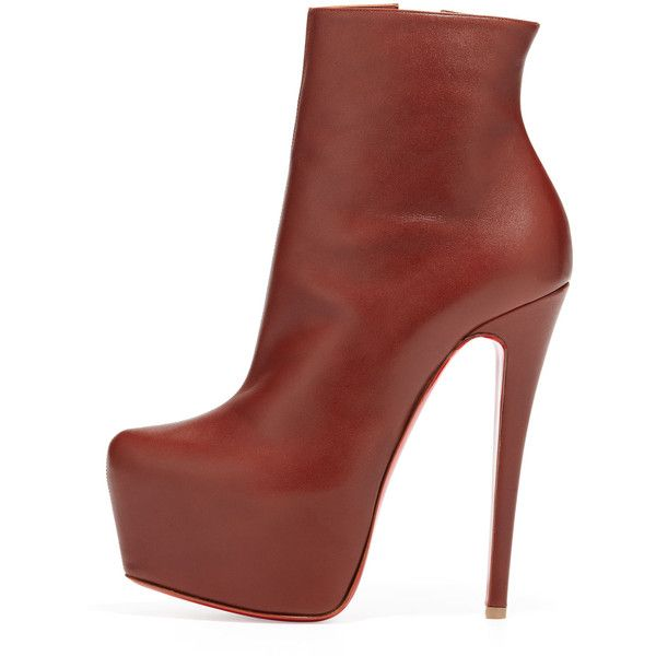 Women's Daf Leather Platform Red Sole Bootie, Brown - Christian... (1,855 CAD) ❤ liked on Polyvore featuring shoes, boots, ankle booties, ankle boots, booties, heels, brown booties, heeled booties, leather boots and high heel boots