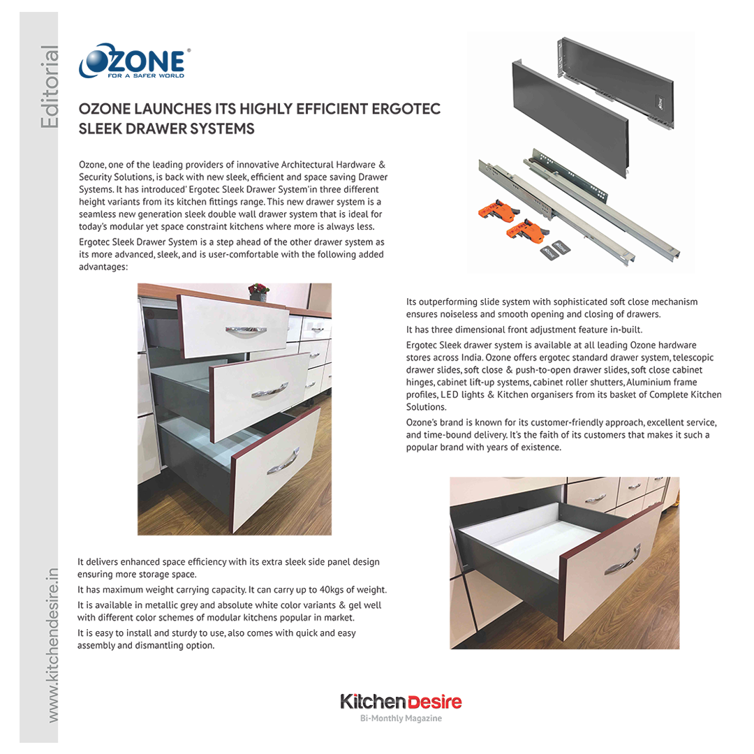 Ozone launches its Highly Efficient Ergotec Sleek Drawer Systems ...