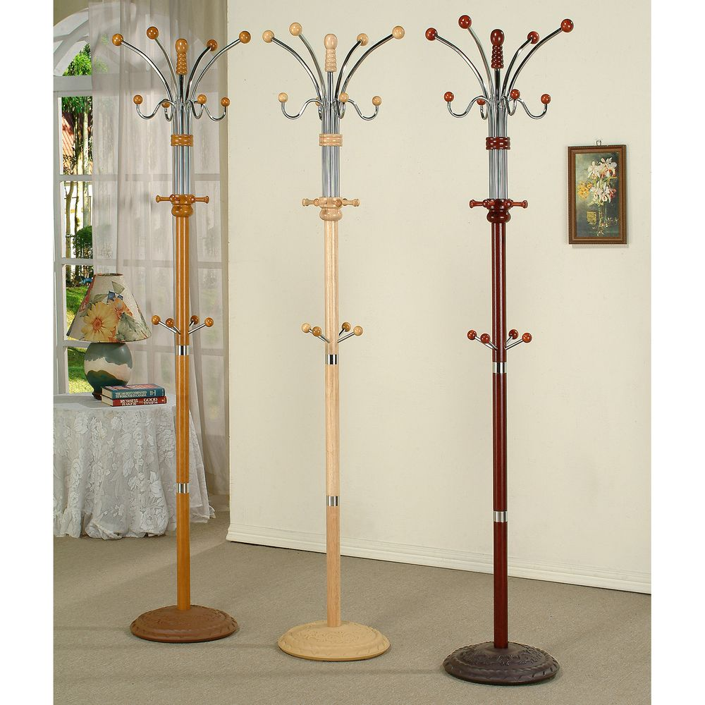 Metal and Wood Standing Coat Rack | Overstock.com Shopping - The Best Deals on Accent Pieces