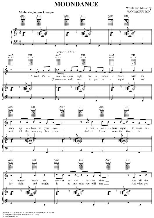 Moondance   Pinterest   Sheet music, Digital sheet music and Van ...