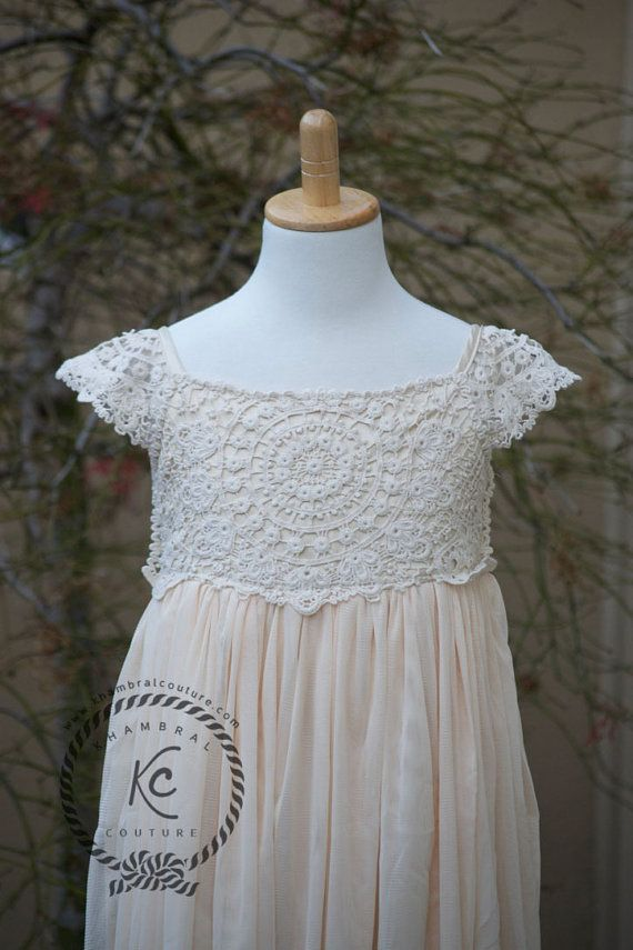 Flower girl dress beige tan flower girl dress girls lace dress lace ...