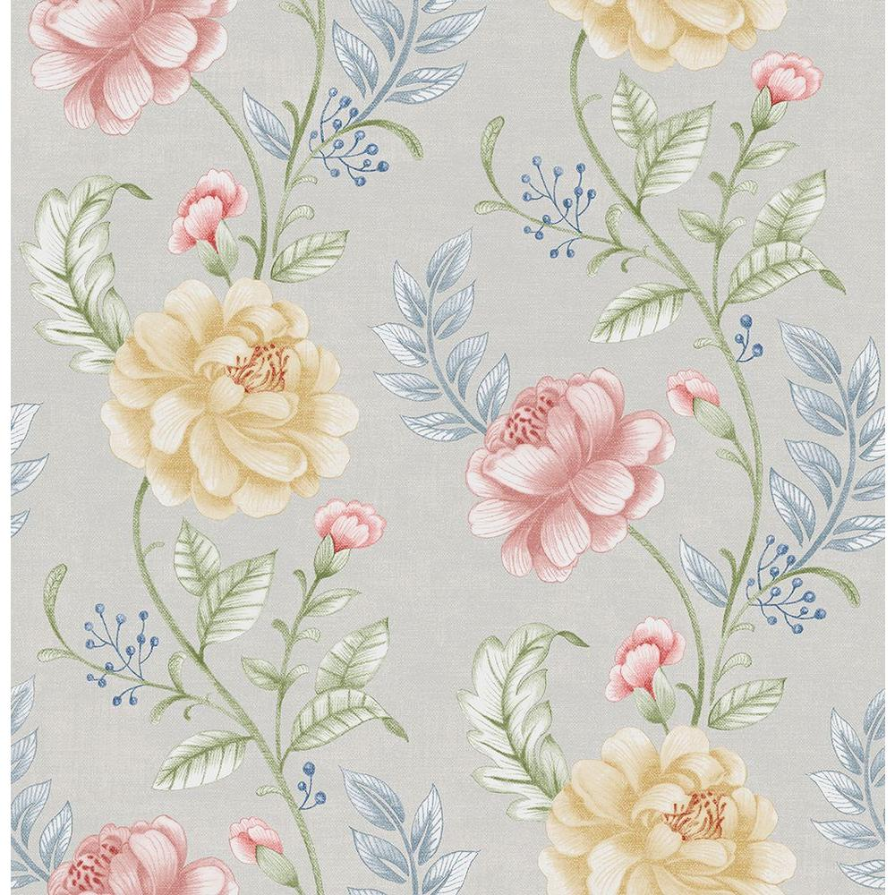 Beacon House Summer Palace Grey Floral Trail Wallpaper Sample