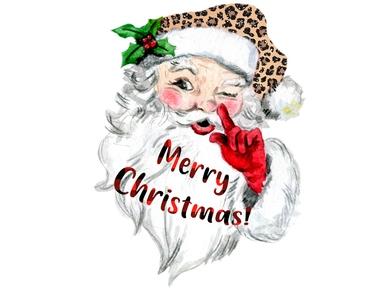 Santa Claus Leopard Digital Png Waterslide Decal Paper Christmas Images Santa Claus Clipart