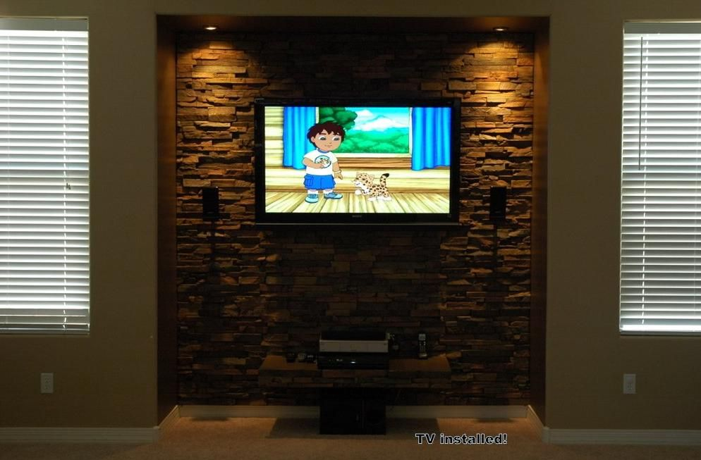 Beautiful Stone Entertainment Center Lights Now A
