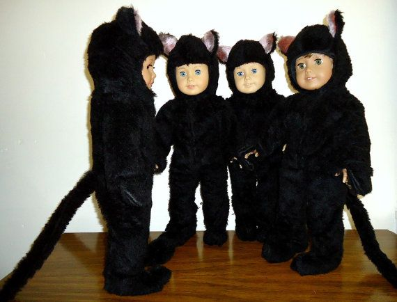 American Girl Doll Halloween Black Cat Costume for by apriljunebug, $38.00