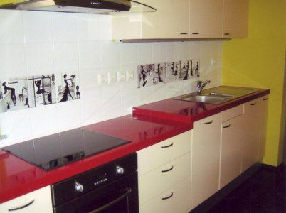 Another Kitchen With Red Counters And Almost White Cabinets D Laminate Kitchen Kitchen Design New Kitchen Designs