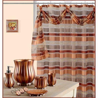 Daniels Bath Elisa Decorative Shower Curtain Color: Rust