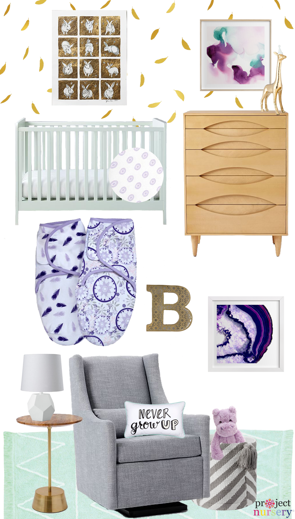 Purple Mint And Gold Feather Nursery Design Board Love This Whimsical