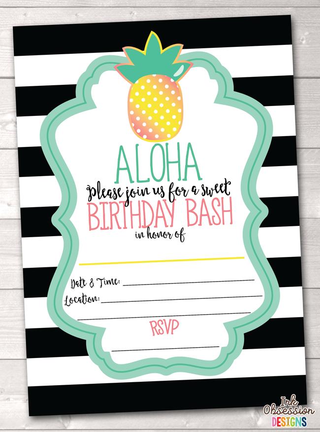 Aloha Pineapple Printable Birthday Party Invitation Black Erin