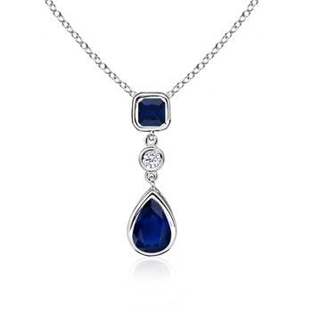 Angara Natural Sapphire and Diamond Halo Dangling Pendant in 14k Yellow Gold