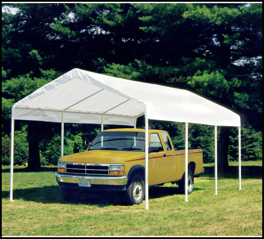 Carport Canopy Shelter With Full Enclosure Kit 10x20 White
