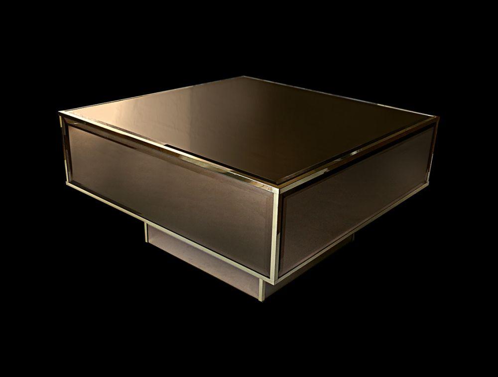 roche bobois table basse miroirs biseaut s fum s 1970. Black Bedroom Furniture Sets. Home Design Ideas