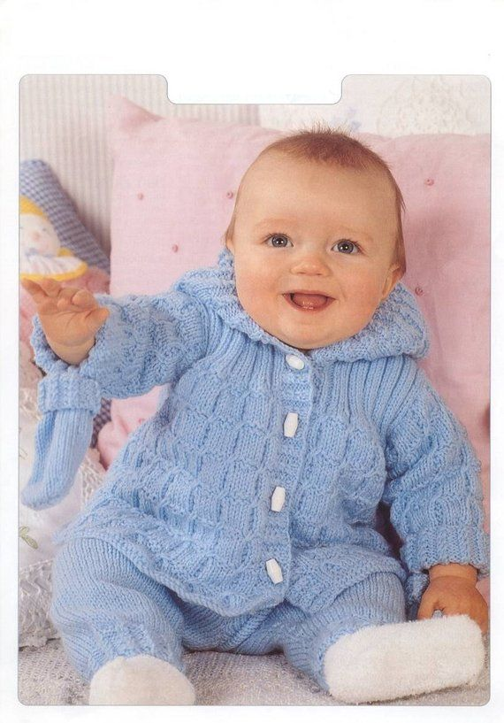 fd236d86914e Vintage Knit Pattern Cable Design Baby Hooded Coat Pants and Mittens ...