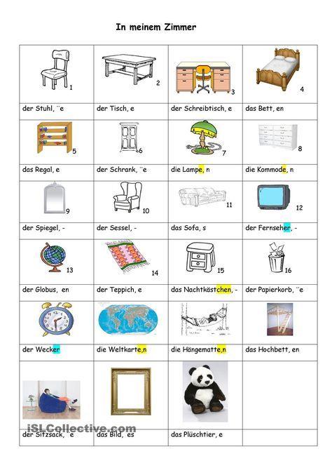 In meinem Zimmer | Deutsch, die Klasse, der Anfang | Pinterest ...