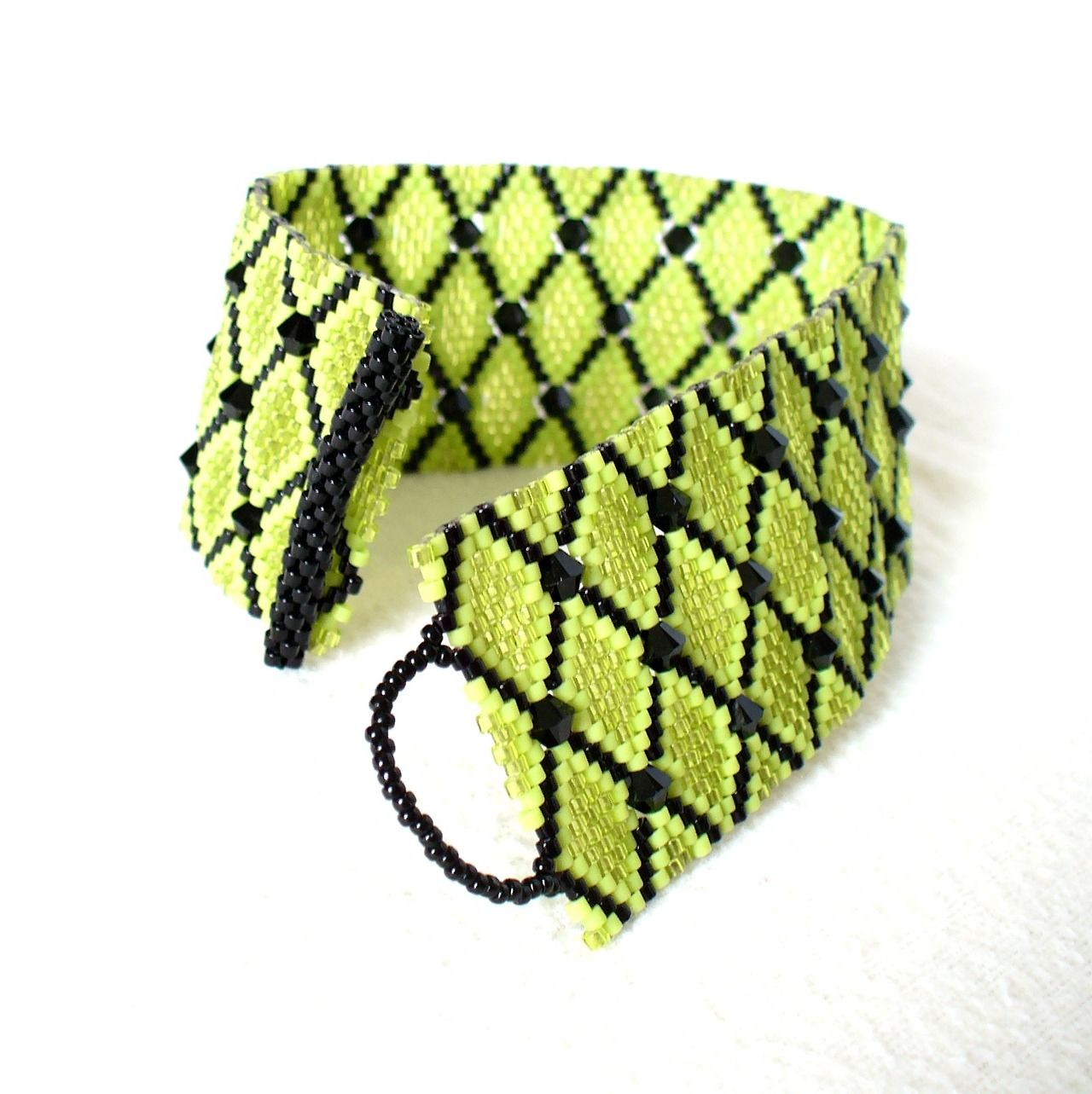Beaded Peyote Cuff in Chartreuse / Lime Green & Black with Swarovski Crystals