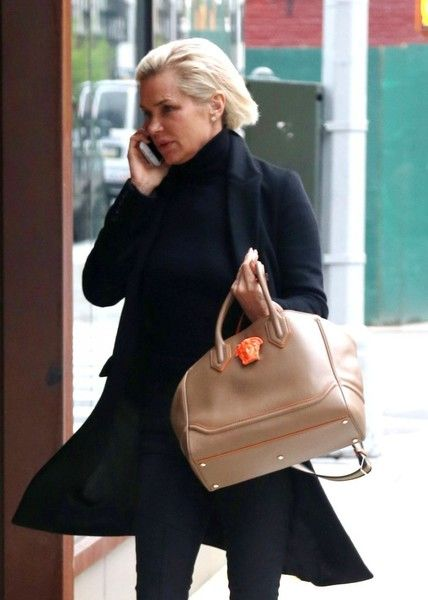 fdb4f8ed92 Yolanda Hadid Leather Tote - Yolanda Hadid was spotted out in New York City  carrying the celeb-favorite Versace Palazzo Empire bag.