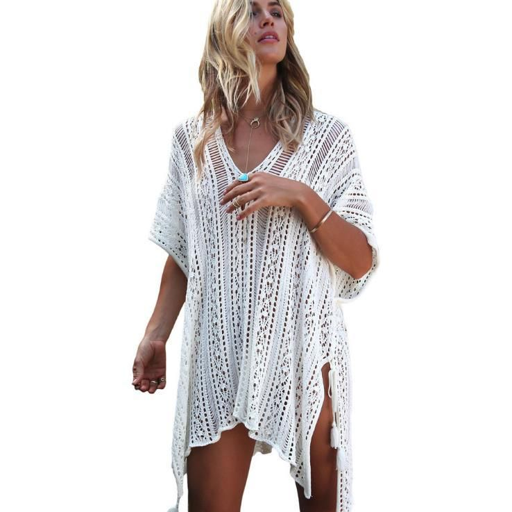 0901ffb2be988 2018 New Beach Cover Up Bikini Crochet Knitted Tassel Tie Beachwear Summer  Swimsuit Cover Up Sexy See-through Beach Dress. Yesterday s price  US   50.00 ...