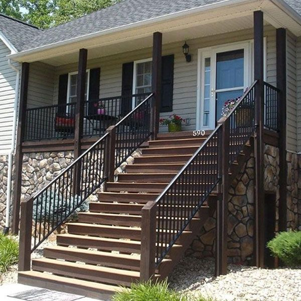 Railing Image Gallery Afco Aluminum Decksdirect Outdoor Stair Railing Railings Outdoor Front Porch Railings