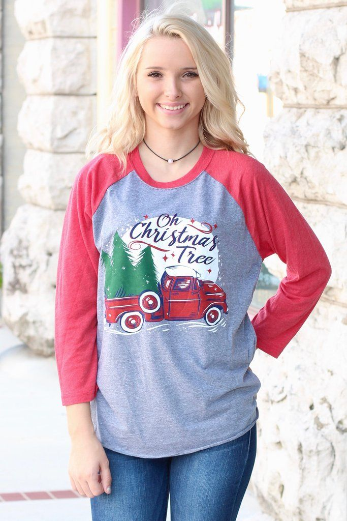 """""""Oh Christmas Tree"""" raglan. Features vintage truck with ..."""