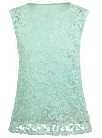 Green Sleeveless Embroidery Organza T-Shirt - Sheinside.com